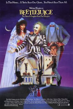 "BEETLEJUICE: Directed by Tim Burton. With Alec Baldwin, Geena Davis, Michael Keaton, Annie McEnroe. A couple of recently deceased ghosts contract the services of a ""bio-exorcist"" in order to remove the obnoxious new owners of their house. Film Movie, See Movie, 80s Movies, Great Movies, Horror Movies, Movies To Watch, Childhood Movies, Crazy Movie, Awesome Movies"