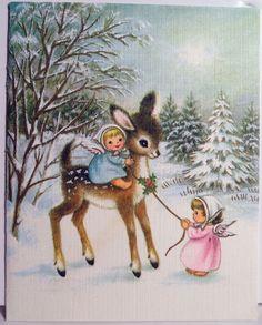 1960s Gibson Angels Baby Deer Vintage Christmas Card