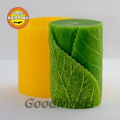 Cylinder with leaves 3D mold soap mold silicone molds by GoodMolds