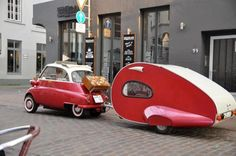 Tiny Vintage Cars Towing a Matching Teardrop Trailers Photo