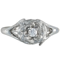 This playful ring depicts a Lincoln Rose. Atop a highly polished platinum band, the matte petals of the blossom open to reveal a shimmering diamond. Colorado Springs, Denver, Engagement Ring Photos, Custom Jewelry Design, Custom Design, Brilliant Earth, Ring Designs, Fine Jewelry, Jewellery