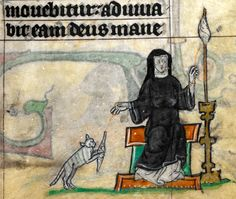 I can has a spindle?     'The Maastricht Hours', Liège 14th century.  British Library, Stowe 17, fol. 34r