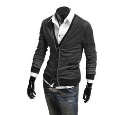 Allegra K Men Fashion Long Sleeve Button Closure Decorative Pockets Cardigan Dark Gray S