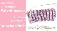 Abnähen unsichtbar Patentmuster - Grafting seamlessly Brioche Stitch