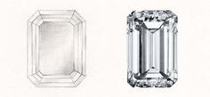 Emerald cut diamonds have a hall of mirrors effect. Descended from the step cut, emerald cuts were standardized in the Shop our emerald cut rings. Emerald Cut Rings, Emerald Cut Diamonds, Diamond Cuts, Gem Drawing, Diamond Drawing, Crystal Tattoo, Hall Of Mirrors, Jewelry Design Drawing, Jewelry Illustration
