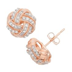 Gioelli 10k Rose Gold .32ct TDW Diamond Round Cut Love Knot Stud Earrings