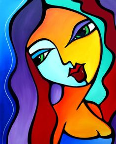 Girl Like You - Original Abstract painting Modern pop portrait Art by Fidostudio