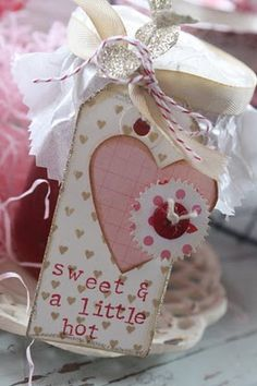 cute tag and waxed paper topping for gift