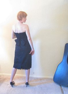 Mid Century Party Dress. Ferman OGrady. Black Lace by ChatteJolie