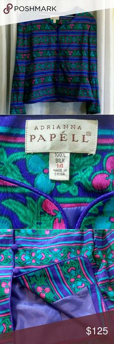 Adrianna Papell 100% silk vibrant jacket! Vintage? Beautiful vibrant colored Adrianna Papell 100% silk long sleeve jacket.  Size 14.  I had difficulty showing the accurate beauty of the colors.  It's prettier than any of the pictures.  Purple, turquoise, green and fuchia with purple silk covered buttons.  Body lined, sleeves more sheer.  Thinking vintage from tags.  Just stunning!  Dry clean only.  Excellent condition!  A combination of the last two close ups most accurate for colors…