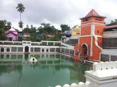 Holy water pond of mangeshi temple in the town of ponda, Goa