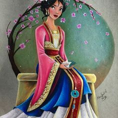 """Mulan is finished, wearing her current outfit found at the Disney Parks  Had to give Mulan some love!! There's currently a petition going around online to make Mulan a 17"""" LE doll, so go on Tumblr or FB and sign!!!  I kinda wish if they made a new 17"""" LE Mulan, or a new DFDC Mulan, she would be wearing something along the lines of this ❤️❤️❤️ I didn't know what to do with the background, but I had this cherry blossom idea the other day and I was so afraid that I would ruin the pictur"""