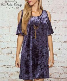 Crushed Velvet Cold Shoulder Dress - Blue