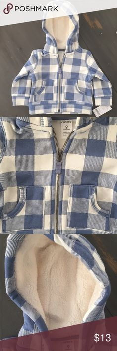 Carter's 9 month Fleece lined Blue Check Hoodie Brand new with tags!! Carter's brand. 9 month old. Fleece lined, super soft hoodie jacket. Zippered front. Two front pockets. Blue Check Pattern. Could be for a boy or a girl! 🎁 Carter's Shirts & Tops Sweatshirts & Hoodies