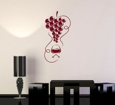Vinyl Decal Wine Grapes Kitchen Restaurant Bar Drink Alcohol Wall Stickers Mural (ig2702)