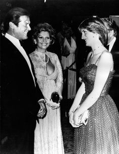 """June Lady Diana Spencer meeting Roger Moore the actor in the latest James Bond film, """"For Your Eyes Only"""" at the West End. Princess Diana Images, Princess Alexandra, Princess Margaret, Roger Moore, Charles And Diana, Prince Charles, Prince And Princess, Princess Of Wales, Lady Diana Spencer"""