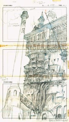 Some Ghibli layout magic. ARE YOU KIDDING ME WITH THIS? God, the detail... For a storyboard..