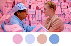 As auteurs go, Wes Anderson is known for a whimsical use of color and style. See how to decorate like Wes Anderson Wes Anderson Style, Wes Anderson Films, Movie Color Palette, Colour Pallete, Color Schemes, Color Palettes, Colour Colour, Colour Combinations, Blue Palette