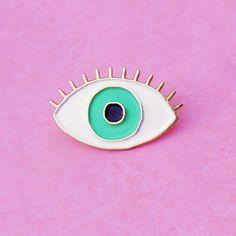 GREEN Eye Enamel pin Eye brooch Evil Eye pin's by CoucouSuzette