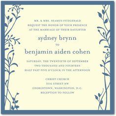Signature Ecru Wedding Invitations Merry Branch  - Front : blue    by Wedding paper divas