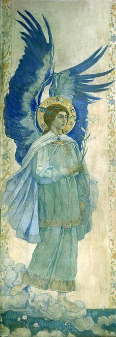Annunciation della Cattedrale di Pokrovsky  Russia. Annunciation. Virgin Mary, detail, 1910-1911, Mikhail Vasilievich Nesterov. Russian
