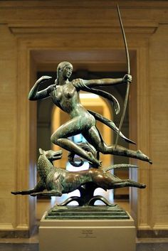 Paul Manship - American 1885-1966 Diana and a Hound 1925 bronze