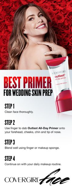 Prep skin for makeup on your big wedding day using this simple step-by-step guide to applying Outlast All-Day Primer. Using primer helps your makeup look fresh and flawless all day long. Step 1: Clean face thoroughly. Step 2: Use finger to dab Outlast All-Day Primer onto your forehead, cheeks, chin and tip of nose. Step 3: Blend well using finger or makeup sponge. Step 4: Continue on with your makeup routine.