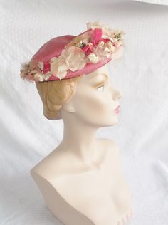 1950's Vintage Pink Straw Hat with Flowers Old by MyVintageHatShop