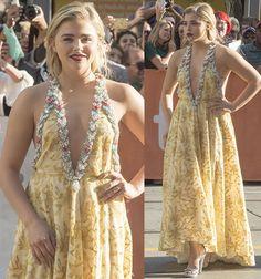 Chloe Grace Moretz in Miu Miu yellow embellished gown