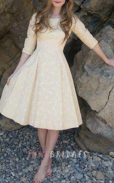 Vintage 1950'S Gold Buttercream Rose Brocade Size Xs W 24 Dress