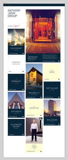 Anthony John Group (nice captions, portfolio pieces mixed in with other menu items)