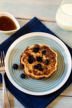 Blueberry Quinoa Pancakes - These blueberry quinoa pancakes will make your whole family happy! They can be made gluten free or not and have a vegan option. So delicious! - WendyPolisi.com
