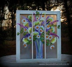 The Perfect Day - Hand Painted Window Old Windows Painted, Painted Window Panes, Window Pane Art, Painting On Glass Windows, Vintage Windows, Window Frames, Painted Screens, Vintage Doors, Antique Doors
