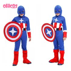 OHCOS Free shipping Children's Halloween Costumes Boys Captain America Costume Kids Cosplay Steve Rogers Costume Price: USD 15.88 | United States