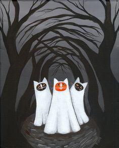 gatos en hallowen, ilustración de Kilkennycat