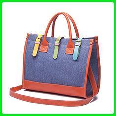 98b15dcd1f Prettybag Women Canvas Shoulders Cross Body Messenger Satchel Tote Bag  Leather Patchwork Handbag Blue - Top