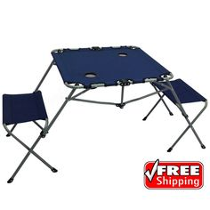 Portable Folding Camping Picnic 2-In-1 Table Set Two Seats Cup Holders Outdoor   Sporting Goods, Outdoor Sports, Camping & Hiking   eBay!