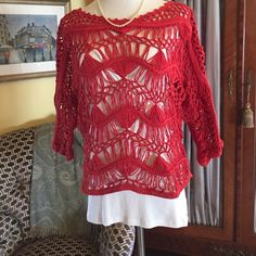 "Red macramé sweater Red cotton macramé cropped sweater. Yellow bird for anthropologie.  Sheer and must be worn over T-shirt or tank very cute. size large. Slight discoloration on bottom hem from rack in store sweater has never been worn  19 inches from neck to hem raglan sleeve  3/4 sleeve with boat neck   This item has never been worn but only in good condition from slight ""abuse"" in store. Price reflects this Anthropologie Sweaters Crew & Scoop Necks"