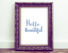 Hello Beautiful Printable Home décor by HoneyBeePrintsShop on Etsy