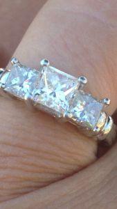 Three Stone Princess Cut Platinum Diamond Ring