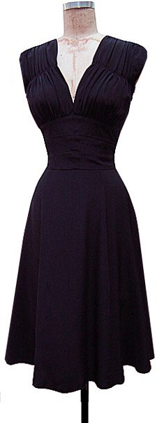 Our short sleeved 1940's Dress features a lowcut front and back neckline with gathering at the shoulders, upper bust, and upper back. The underbust is sewn in sections to give it a sleek and flattering fit and the waist sections are lined for even more waist control. The skirt is below the knee and combines bias cut and straight cut panels for a flattering A line shape. This is a style that we've made for years and the fit gets better and better with each version-a tried and true favorite…