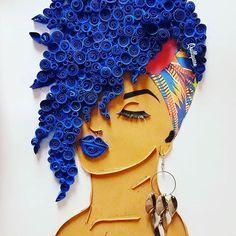 Black Girl Art, Black Women Art, Art Girl, Drawings Of Black Girls, Quilling Designs, Quilling Art, Rolled Paper Art, Natural Hair Art, Black Artwork