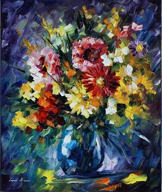 0609  Bouquet Of Love - Palette Knife Oil Painting On Canvas By Leonid Afremov  Print by Leonid Afremov