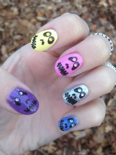 Colorful Halloween Faces Nail Art!