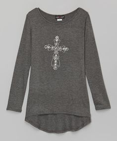 Love this Rated G Charcoal Cross Hi-Low Tunic - Girls by Rated G on #zulily! #zulilyfinds