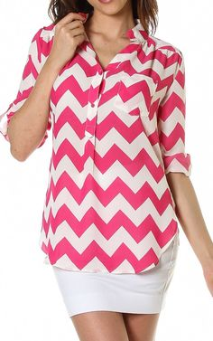 Chevron Print V Neck Adjustable Sleeve Tunic Blouse Top $24.95