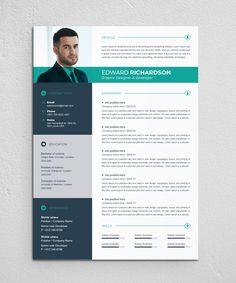 Edward Richardson - Resume Template If you like this cv template. Check others on my CV template board :) Thanks for sharing! Modern Resume Template, Resume Design Template, Resume Template Free, Creative Resume Templates, Cv Ingenieur, Resume Layout, Resume Cv, Resume Tips, Conception Cv