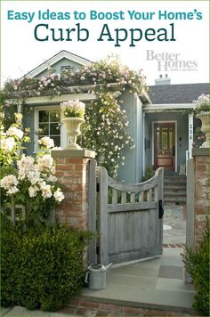 Memorable Exteriors (click through to see more!) Blue Cottage with Great Curb Appeal - Entry Gate with Flowers, pergola over window Cozy Cottage, Cottage Living, Cottage Homes, Cozy House, Garden Cottage, Cottage Front Yard, Fairytale Cottage, Storybook Cottage, Coastal Cottage