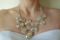 Golden Divine Rock Bib Necklace in Sterling Silver - Ethereal, Elegant, Bridal Necklace, Wedding Necklace, Heirloom, Swarovski Crystal, Gold