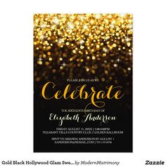 Gold Black Hollywood Glam Sweet Sixteen Invitation